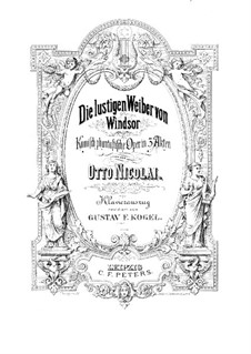 The Merry Wives of Windsor: Arrangement for voices and piano by Otto Nicolai