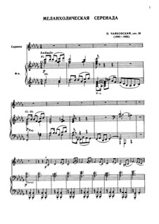 Sérénade mélancolique, TH 56 Op.26: For violin and piano by Pyotr Tchaikovsky