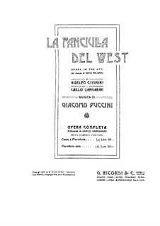 La fanciulla del West (The Girl of the West): Piano score by Giacomo Puccini