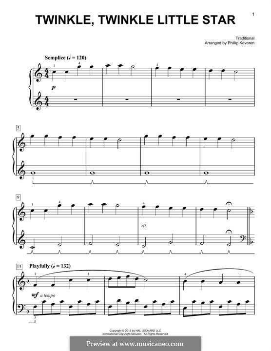 Twinkle, Twinkle Little Star: For piano by folklore