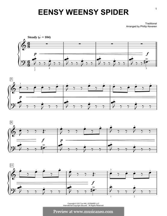 Eensy Weensy Spider: For piano by folklore