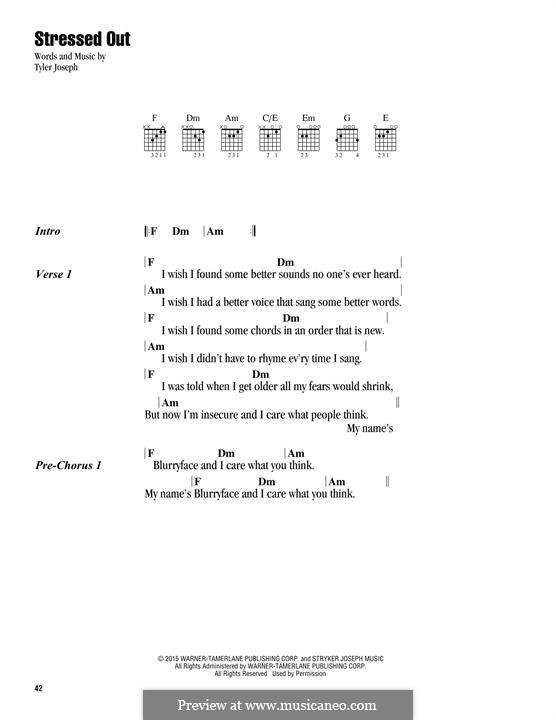 Stressed Out (twenty one pilots) by T. Joseph - sheet music on MusicaNeo