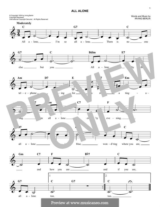 All Alone: Melody line by Irving Berlin