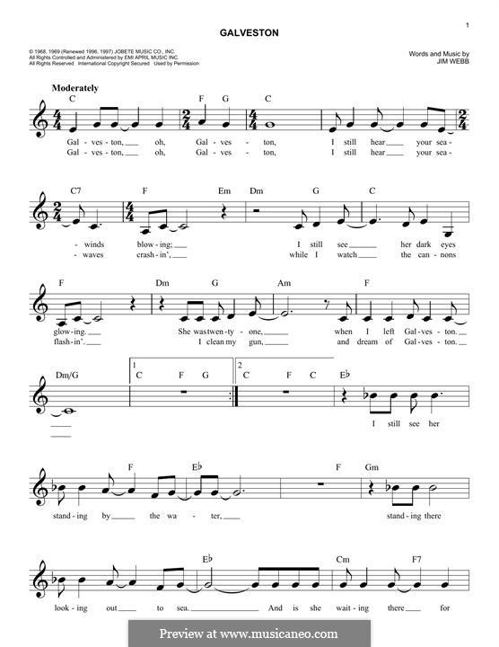 Galveston (Glen Campbell): Melody line by Jimmy Webb