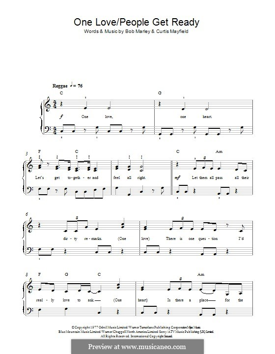 One Love / People Get Ready: For piano by Bob Marley, Curtis Mayfield