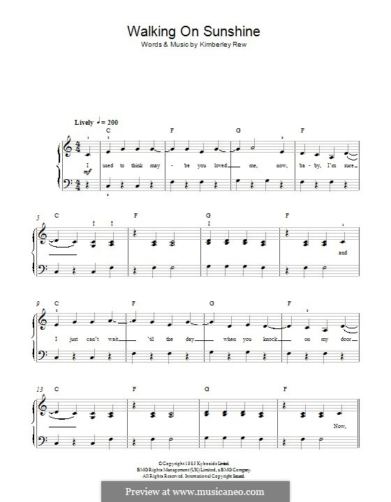 Walking on Sunshine (Katrina and The Waves): For piano by Kimberley Rew