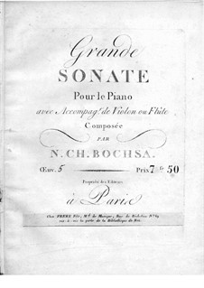 Grand Sonata for Piano and Violin (or Flute), Op.5: Score for two performers by Robert Nicolas-Charles Bochsa
