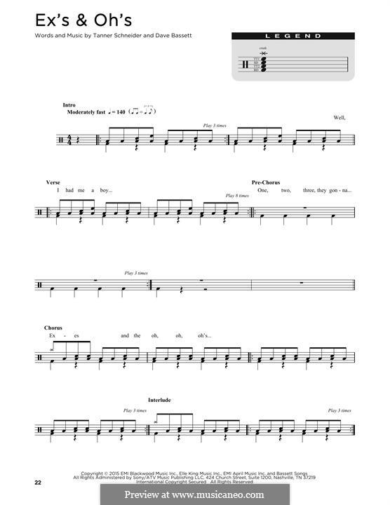 Ex's & Oh's (Elle King): Drum set by Dave Bassett, Tanner Schneider