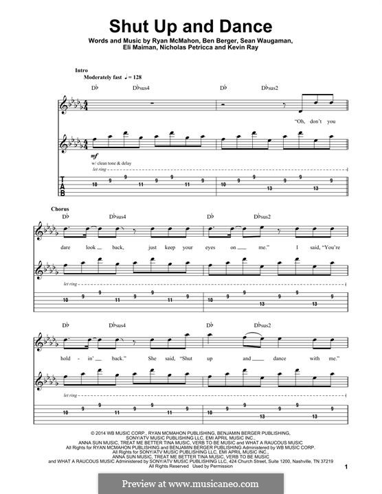 Shut Up and Dance (Walk the Moon): For guitar with tab by Nicholas Petricca, Ryan McMahon, Eli Maiman, Ben Berger, Sean Waugaman