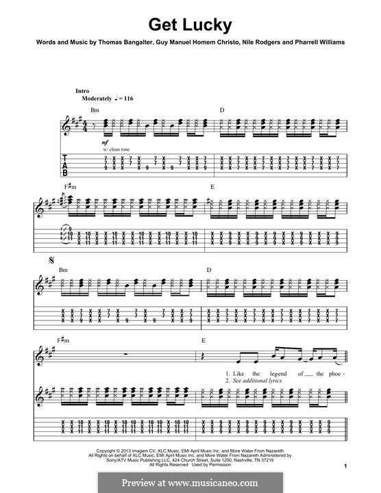 Get Lucky (Daft Punk featuring Pharrell Williams): For guitar with tab by Nile Rodgers, Pharrell Williams, Thomas Bangalter, Guy-Manuel de Homem-Christo