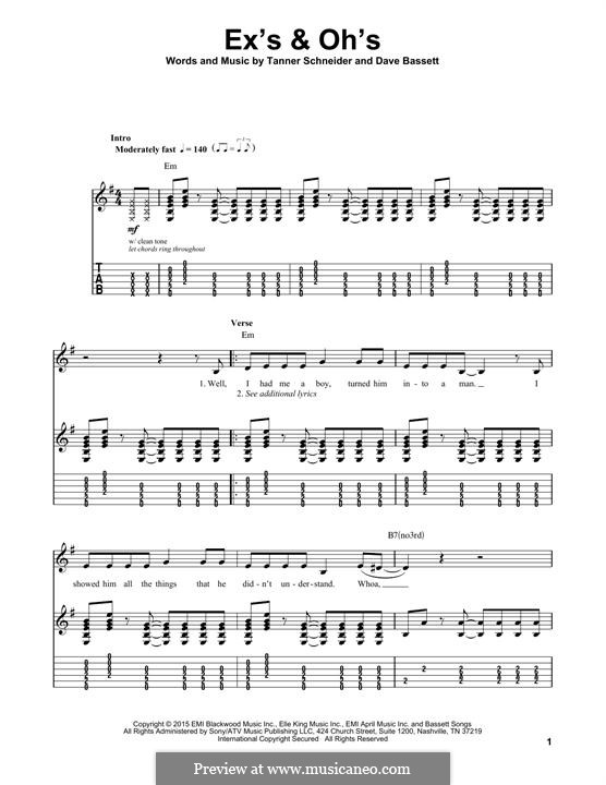 Ex's & Oh's (Elle King): For guitar with tab by Dave Bassett, Tanner Schneider
