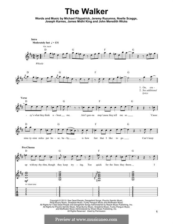 The Walker (Fitz and The Tantrums): For guitar with tab by Jeremy Ruzumna, John Wicks, James Midhi King, Joseph Karnes, Michael Fitzpatrick, Noelle Scaggs