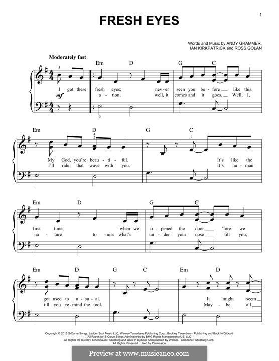 Fresh Eyes: For piano by Rosi Golan, Ian Kirkpatrick, Andy Grammer