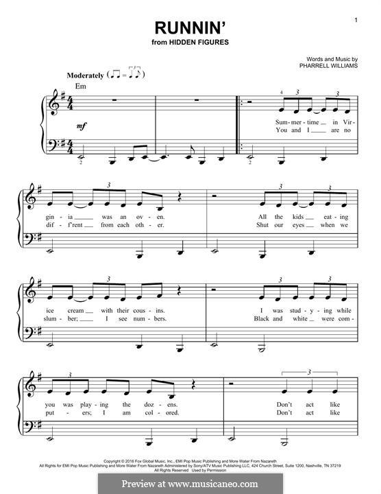 Runnin' (Pharrell Williams): For piano by Pharrell Williams