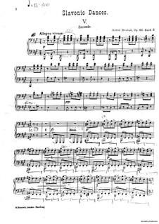 No.5 Skočná: For piano four hands – second part by Antonín Dvořák