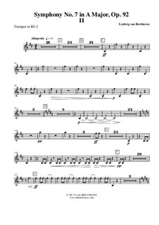 Movement II: Trumpet in Bb 2 (transposed part) by Ludwig van Beethoven