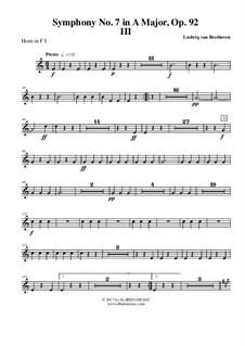 Movement III: Horn in F 1 (transposed part) by Ludwig van Beethoven
