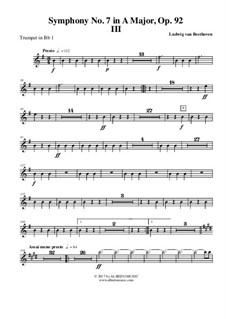 Movement III: Trumpet in Bb 1 (transposed part) by Ludwig van Beethoven