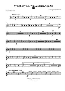 Movement III: Trumpet in C 1 (transposed part) by Ludwig van Beethoven