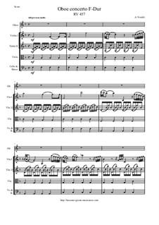 Concerto for Oboe and Strings in F Major, RV 457: Score and parts by Antonio Vivaldi