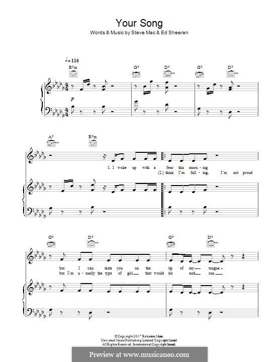 Your Song (Rita Ora): For voice and piano (or guitar) by Ed Sheeran, Steve Mac