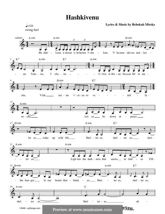 Hashkivenu: Melody line by Rebecca Mirsky