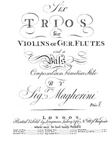 Six Trios for Violins (or Flutes) and Basso Continuo: Violin or flute I part by Giuseppe Maria Magherini