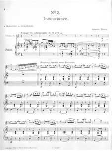 Impressions for Violin and Piano: No.2 Insouciance – score by Gabriel Prosper Marie