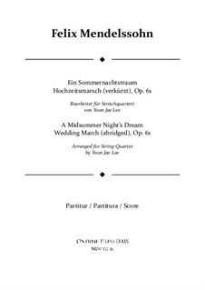 Wedding March: For string quartet – full score by Felix Mendelssohn-Bartholdy