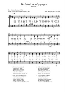 Der Mond ist aufgegangen: For mixed choir by Johann Abraham Schulz