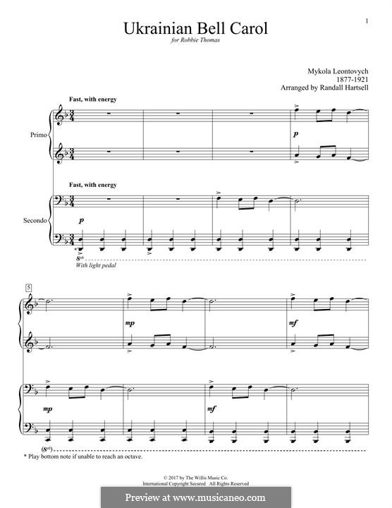 Carol of the Bells: For piano four hands by Mykola Leontovych