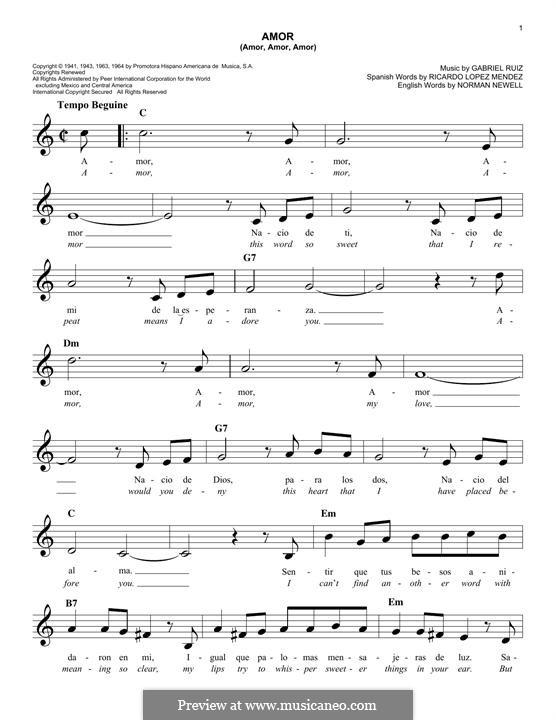 Amor (Amor, Amor, Amor): Melody line by Gabriel Ruiz