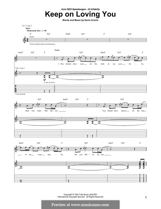Keep on Loving You (REO Speedwagon): For guitar with tab by Kevin Cronin