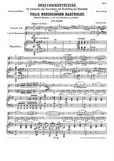 Concert Piece for Clarinet, Basset Horn and Piano No.1, Op.113: Full score by Felix Mendelssohn-Bartholdy
