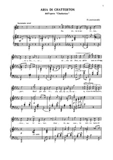 Chatterton: Aria di Chattertona by Ruggero Leoncavallo