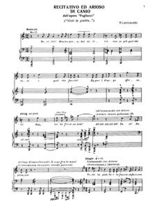 Pagliacci: Recitativo ed arioso Canio by Ruggero Leoncavallo