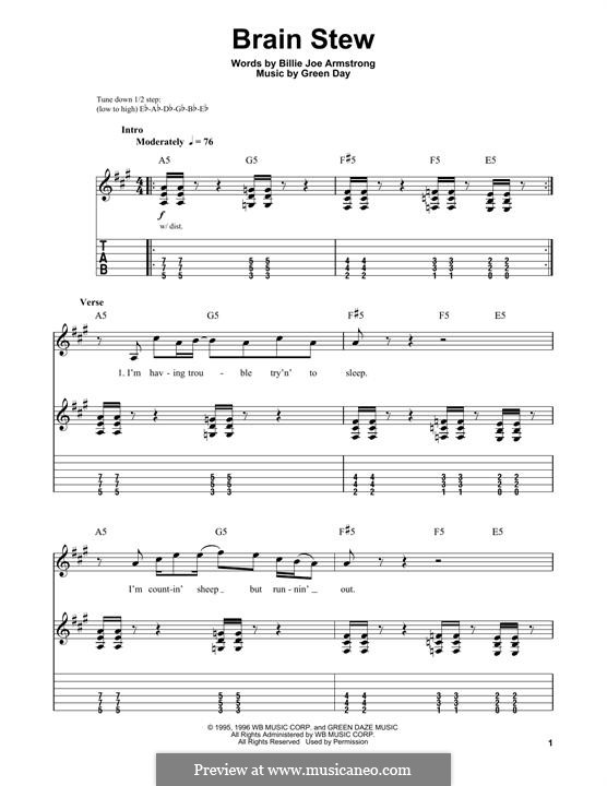 Brain Stew: For guitar with tab by Green Day