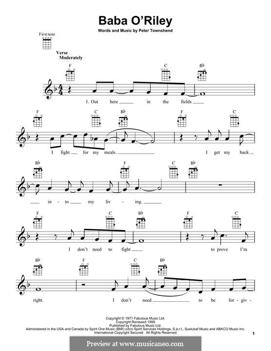 Baba O'Reilly (from Summer of Sam): For ukulele by Peter Townshend