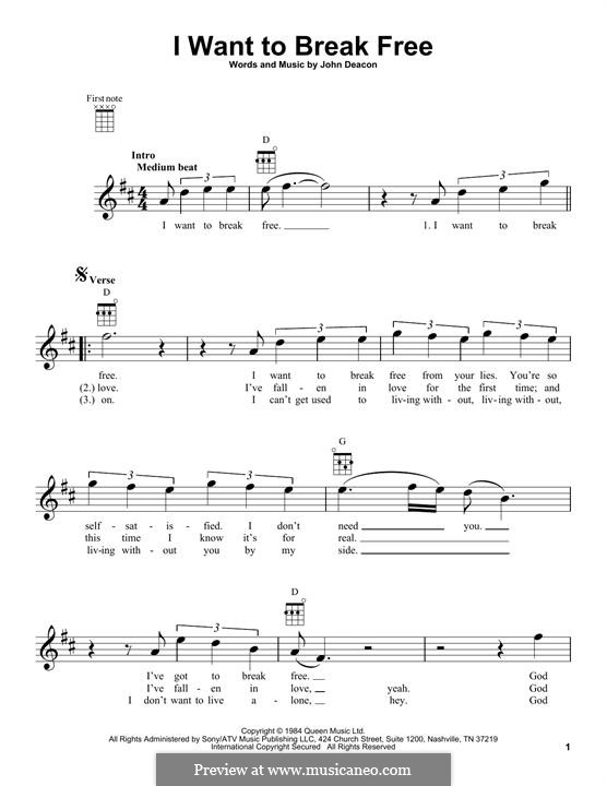 I Want To Break Free Queen By J Deacon Sheet Music On Musicaneo