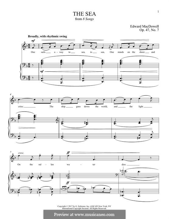 The Sea: For voice and piano by Edward MacDowell