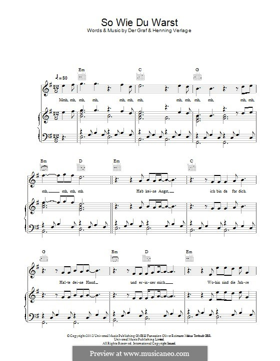 So wie du Warst (Unheilig): For voice and piano (or guitar) by Der Graf, Henning Verlage