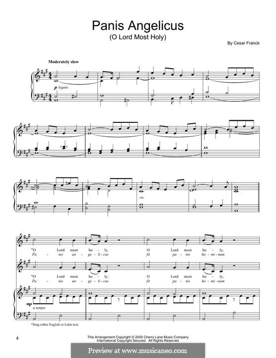 Panis Angelicus (O Lord Most Holy), Printable Scores: For voice and piano by César Franck