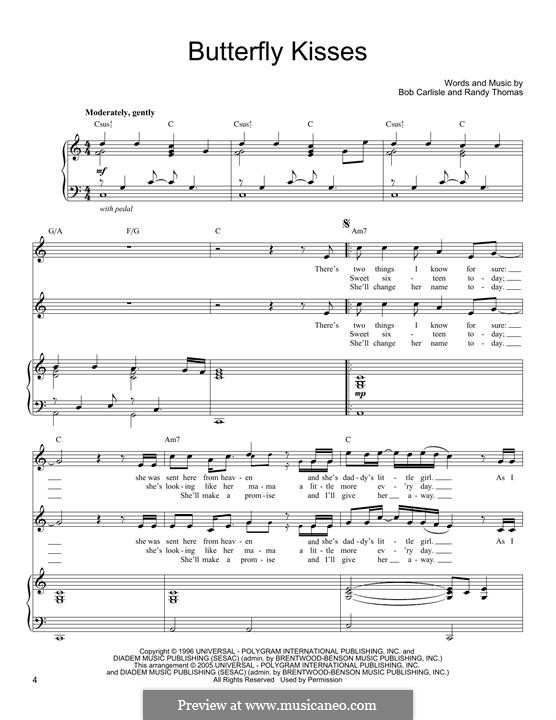 Butterfly Kisses: For voice and piano by Randy Thomas