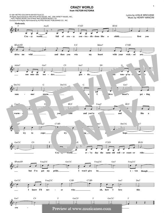 Crazy World: Melody line by Henry Mancini