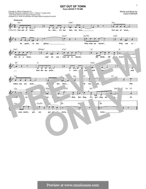 Get Out of Town: Melody line by Cole Porter