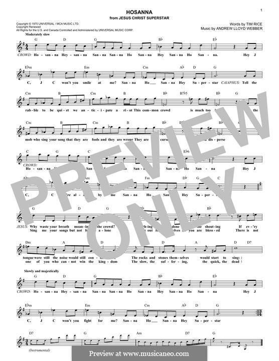 Hosanna (from Jesus Christ Superstar): Melody line by Andrew Lloyd Webber