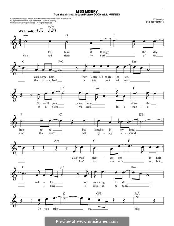 Miss Misery: Melody line by Elliott Smith