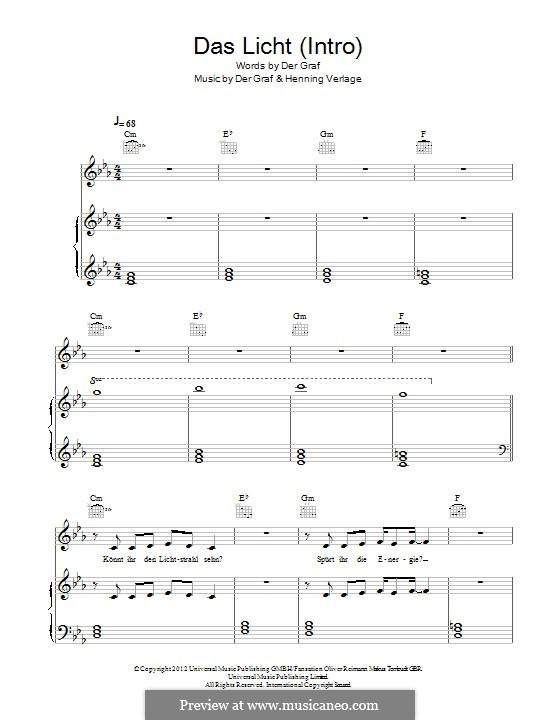 Das Licht (Intro): For voice and piano (or guitar) by Der Graf, Henning Verlage