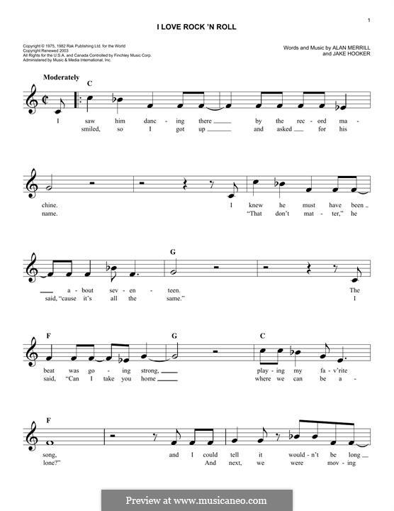 I Love Rock 'n Roll: Melody line by Alan Merrill, Jake Hooker