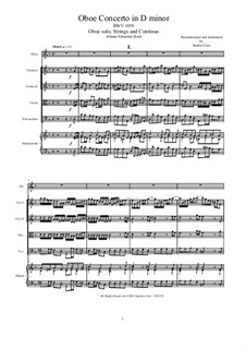 Concerto for Oboe and Orchestra in D Minor, BWV 1059: Score, parts by Johann Sebastian Bach